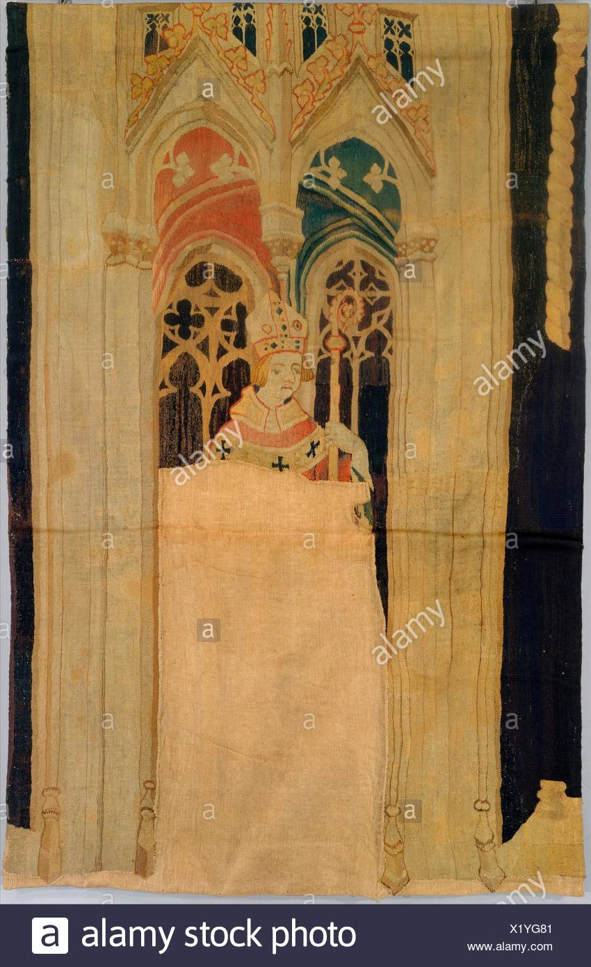 Archbishop (from The Nine Heroes Tapestries). Date: ca. 1400; Culture: South Netherlandish; Medium: Wool warp, wool wefts; Dimensions: Overall: 43 x - Stock Image