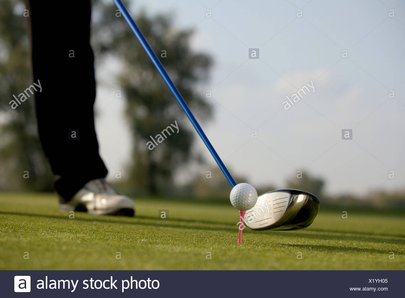 Person playing golf, low section - Stock Image