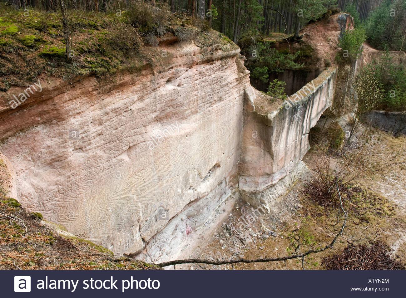 Sandstone quarry near Roth, Nuremberg, Germany, Europe Stock Photo