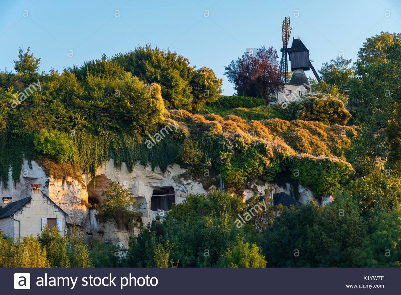 Windmill Of The Val Hulin And Troglodytic Houses At Turquant, Saumur  District, Maine