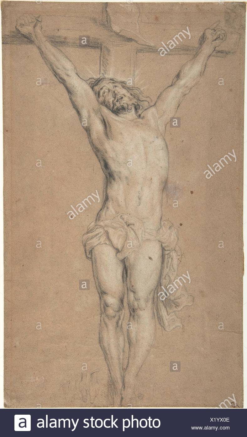Christ on the Cross; verso: St. Jerome Reading by Candlelight, and Sketch of Male Torso (?). Artist: After Anthony van Dyck (Flemish, Antwerp Stock Photo