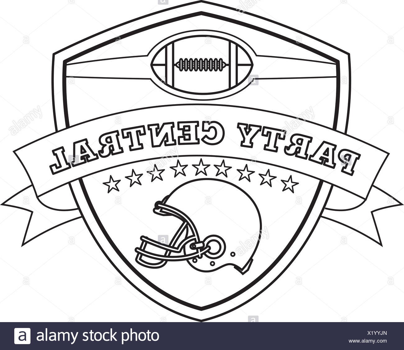 American Football Helmet Shield Line Drawing Stock Photo 276594941