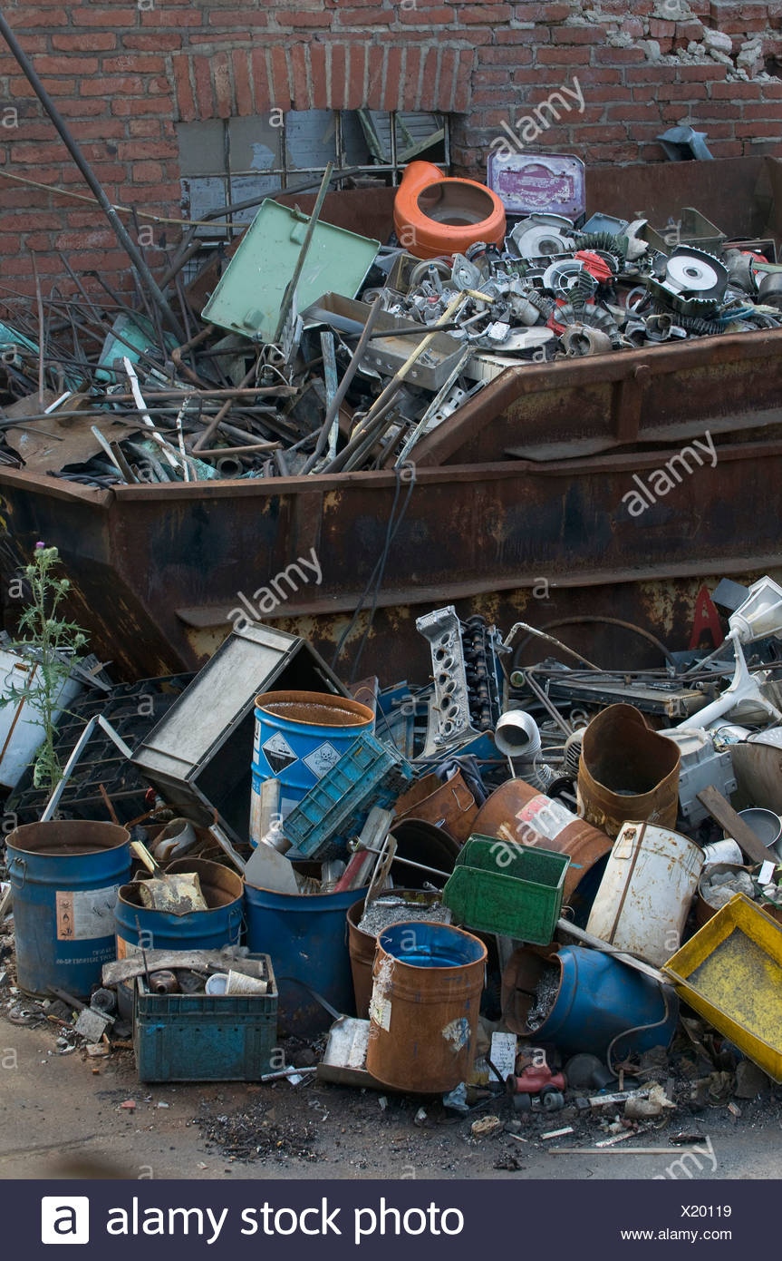 Scrap, metal collection, full skip Stock Photo