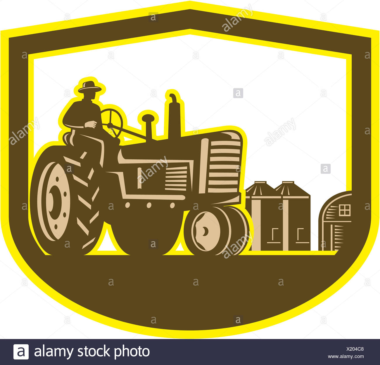 Illlustration Of A Farmer Worker Driving A Vintage Tractor
