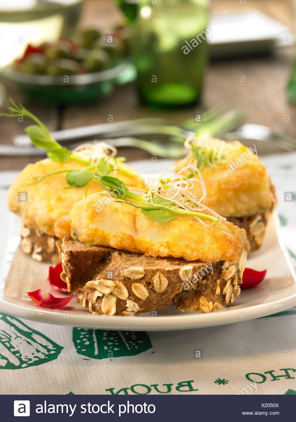 Cod open sandwich - Stock Image