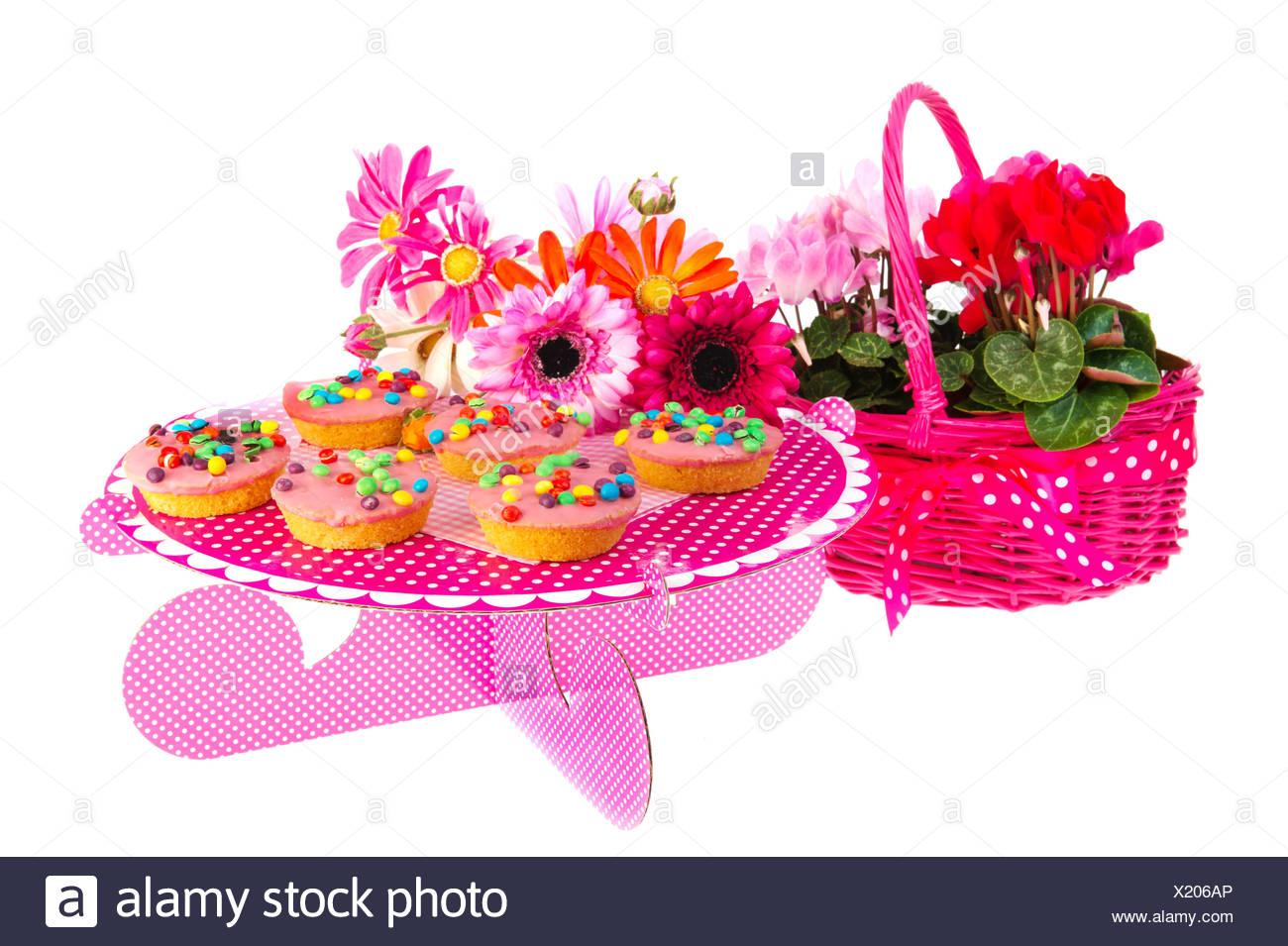 Surprising Birthday Cakes And Flowers Stock Photo 276600206 Alamy Birthday Cards Printable Opercafe Filternl