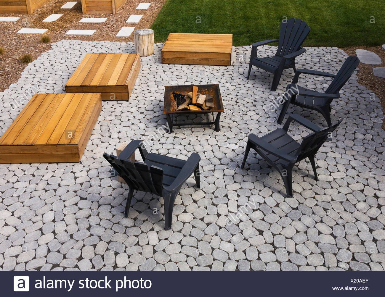Admirable Paving Stone Patio With Adirondack Chairs Red Cedar Wooden Machost Co Dining Chair Design Ideas Machostcouk