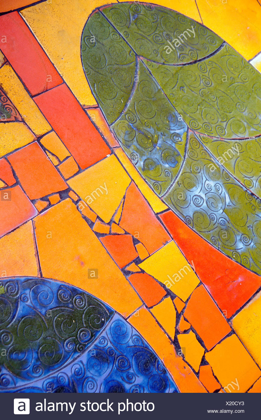 Portion of tiled mosaic - Stock Image