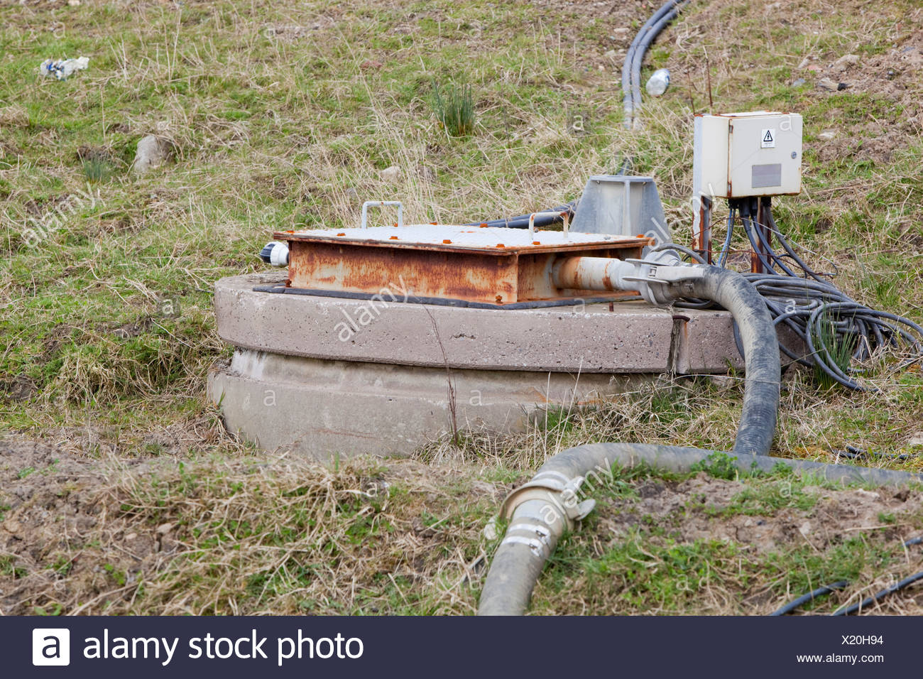 Methane being captured from the old landfill tip in Clitheroe Lancashire UK - Stock Image
