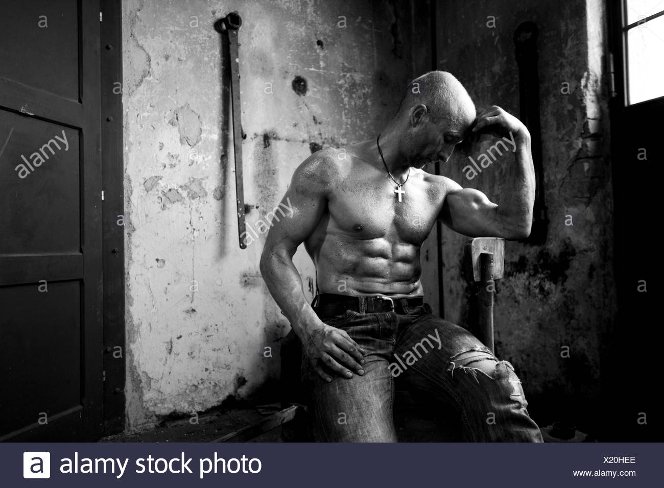 concepts,body cult,hard,guy,sweat,man,strength,muscles,workers,thinkers,Rodin - Stock Image