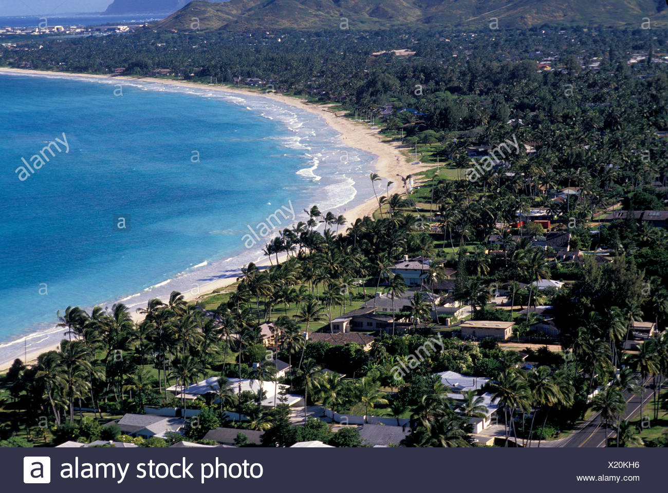 View Above Kailua Beach And The Windward Side Of Oahu Stock