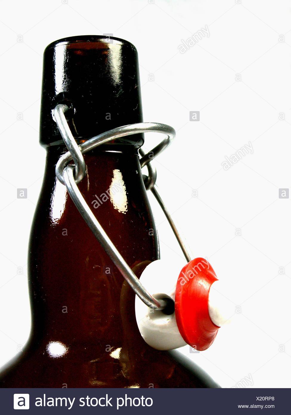 seal shutter hanger used glass beer bottle bottle-neck bottle deposit use - Stock Image