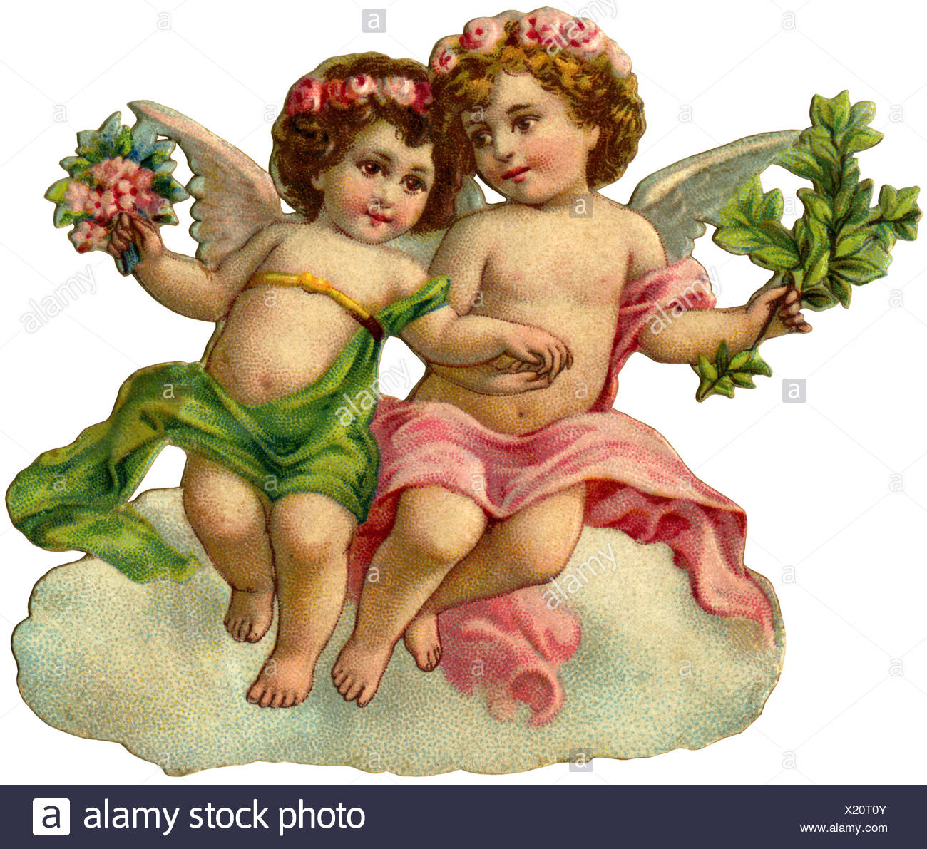 kitsch, two little angel, scrap-picture, Germany, 1908, Additional-Rights-Clearences-NA - Stock Image