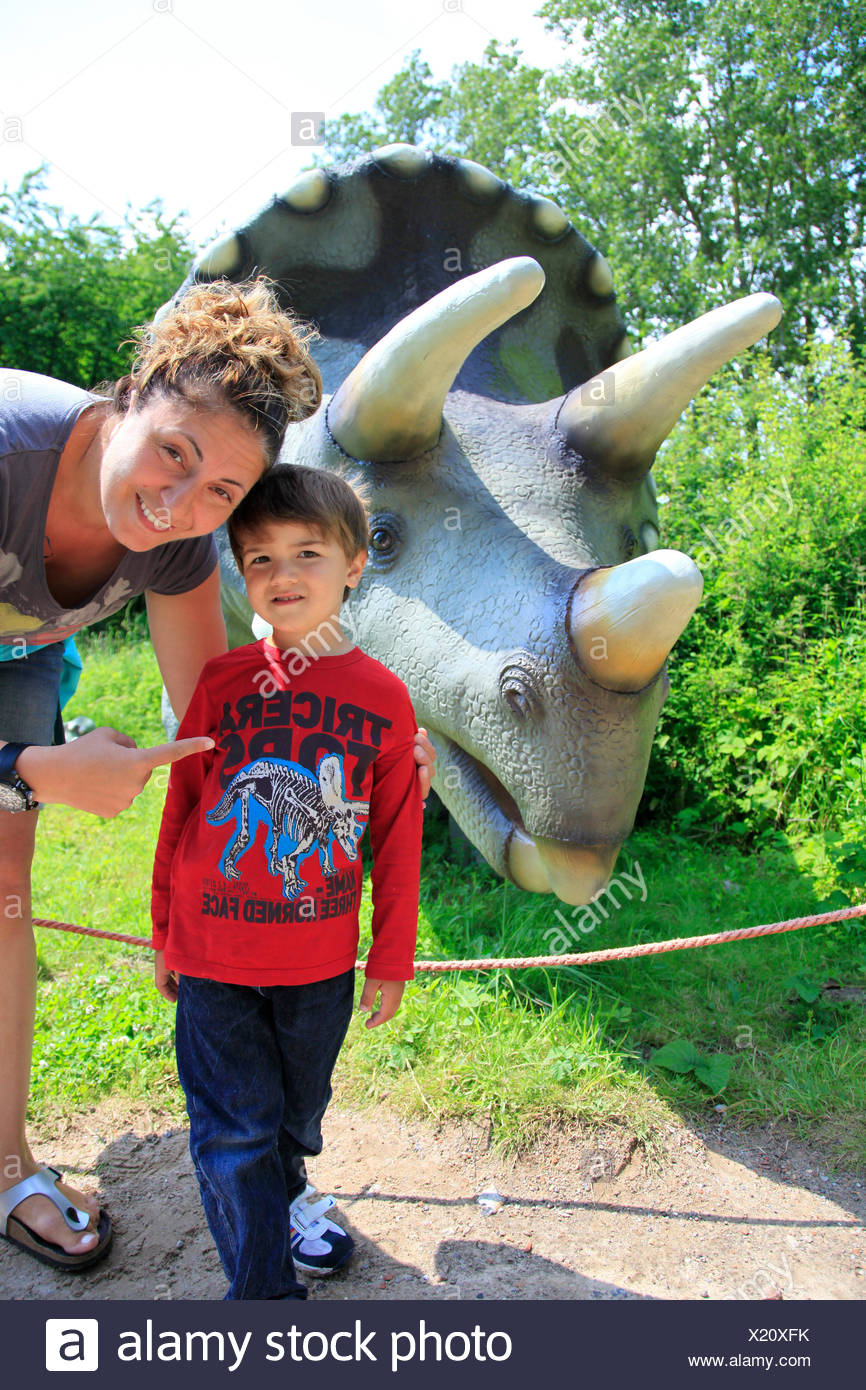 Three Horned Dinosaur (Triceratops), mother with child in front of a Triceratops Stock Photo