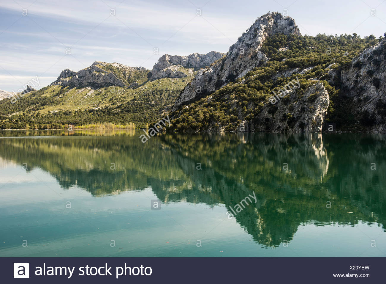 Mountain lake, Embalse de Gorg Blau, Tramuntana, Majorca, Balearic Islands, Spain - Stock Image