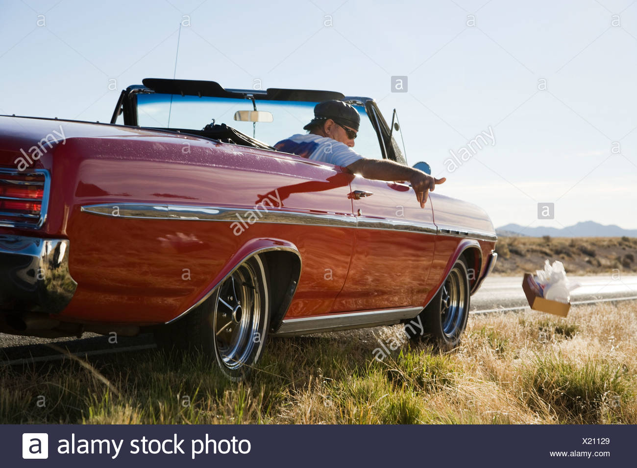 man littering out of a car - Stock Image