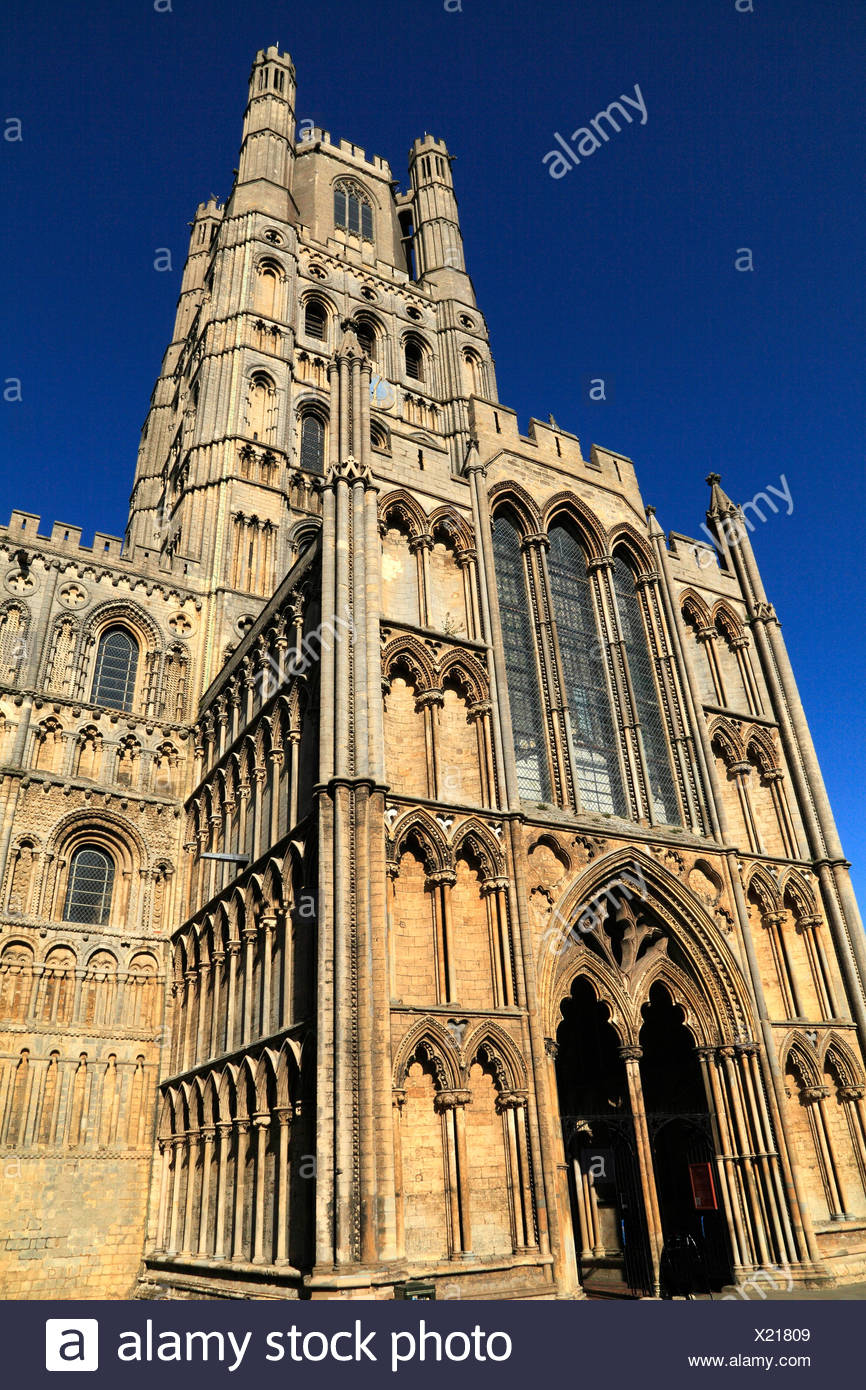 Ely Cathedral, Galilee Porch and West Tower, Cambridgeshire England UK English medieval cathedrals - Stock Image