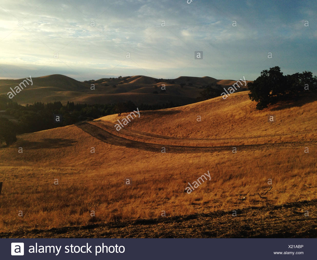 USA, California, Sunset over rolling landscape - Stock Image