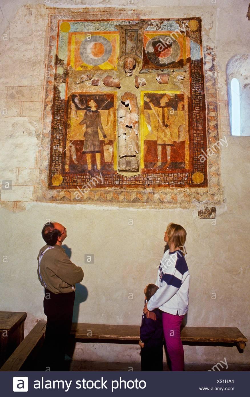 Remains of polychrome plaster Christ Romanesque church  Sant Joan de Caselles church, 12th century  Canillo  ANDORRA. - Stock Image