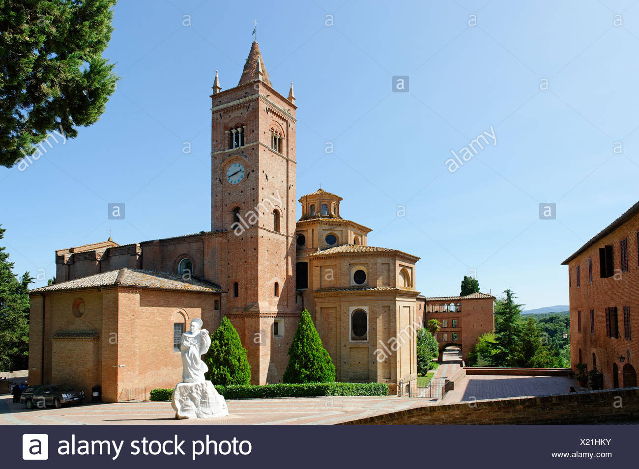 Benedictine monastery, territorial abbey of Monte Oliveto Maggiore, south of Siena, Crete Senesi, Tuscany, Italy, Europe - Stock Image