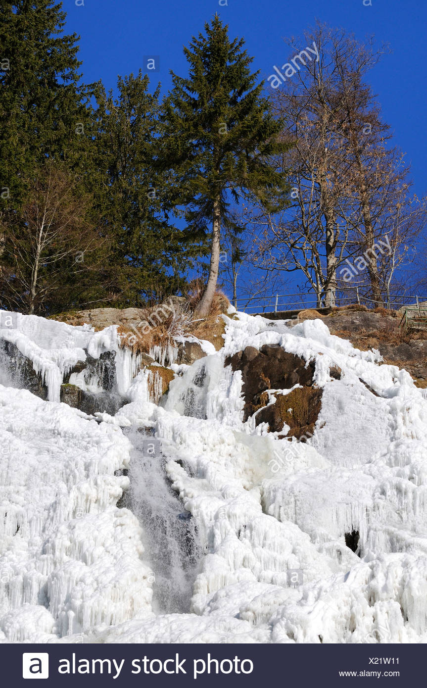 Icy Todtnauer waterfall, Black Forest, Baden-Wuerttemberg, Germany, Europe - Stock Image