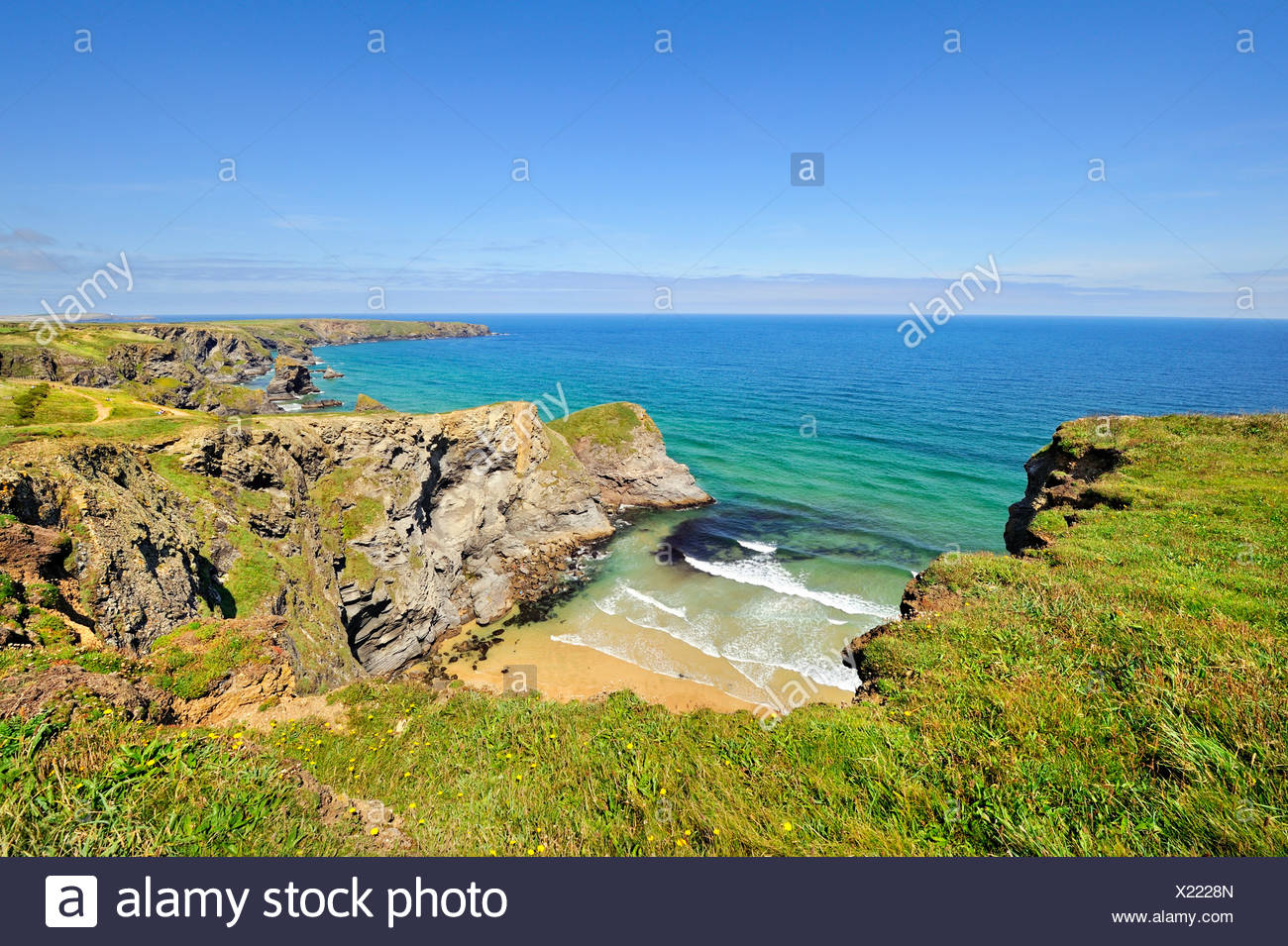 Coastal landscape with bay in Newquay on the north coast of Cornwall, England, United Kingdom, Europe - Stock Image