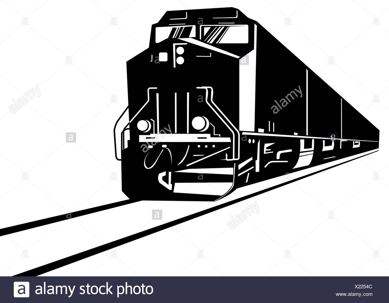 diesel train locomotive retro - Stock Image