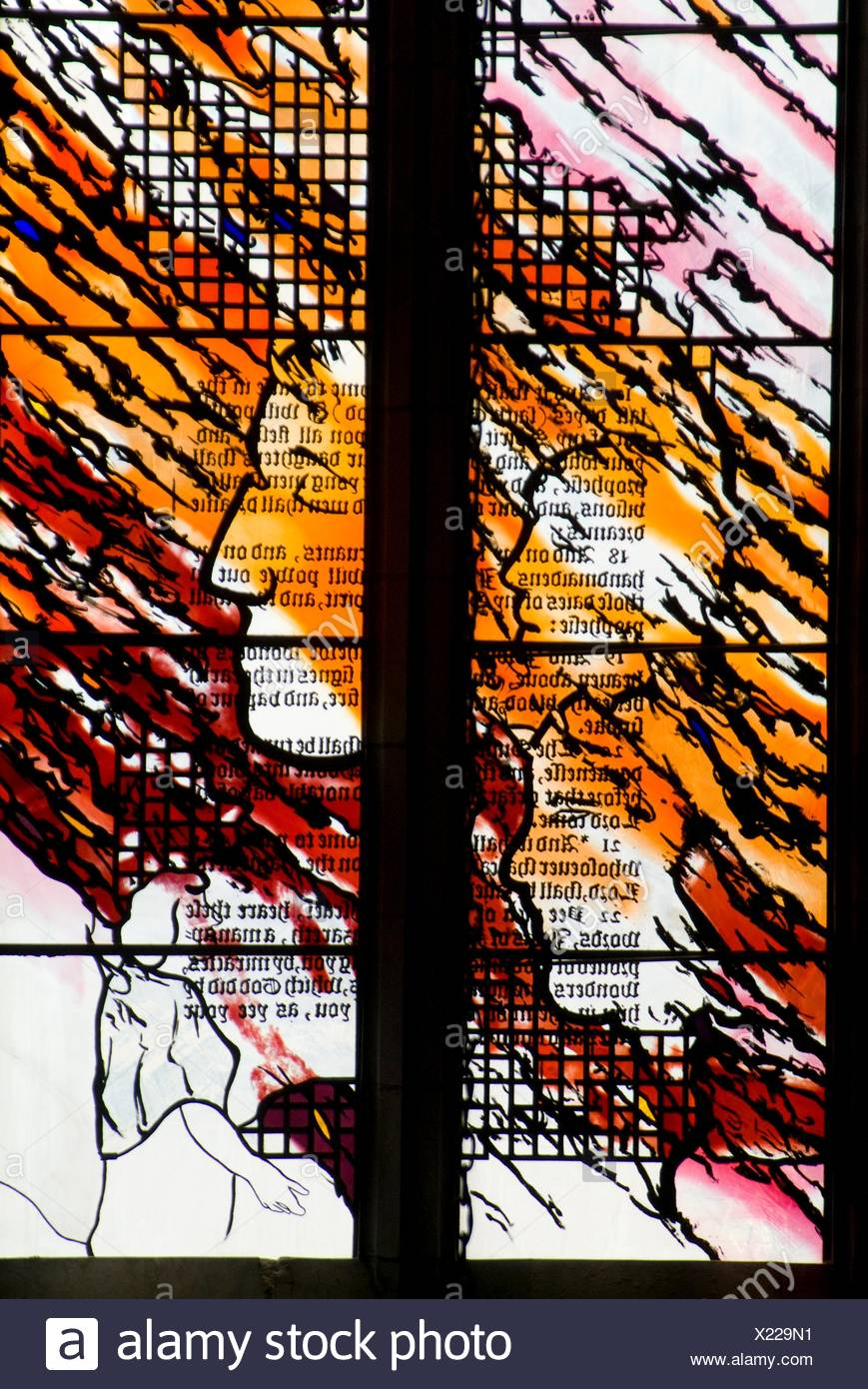 stained glass window in St  Andrew´s Wesley cathedral in downtown Vancouver, BC, Canada Stock Photo