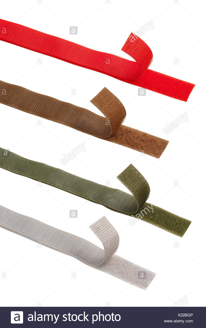 Colorful power grips or Velcro strips against white background - Stock Image