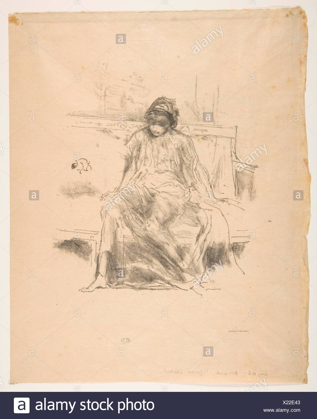 The Draped Figure, Seated. Series/Portfolio: L'Estampe originale, Album IV; Artist: James McNeill Whistler (American, Lowell, Massachusetts 1834-1903 - Stock Image
