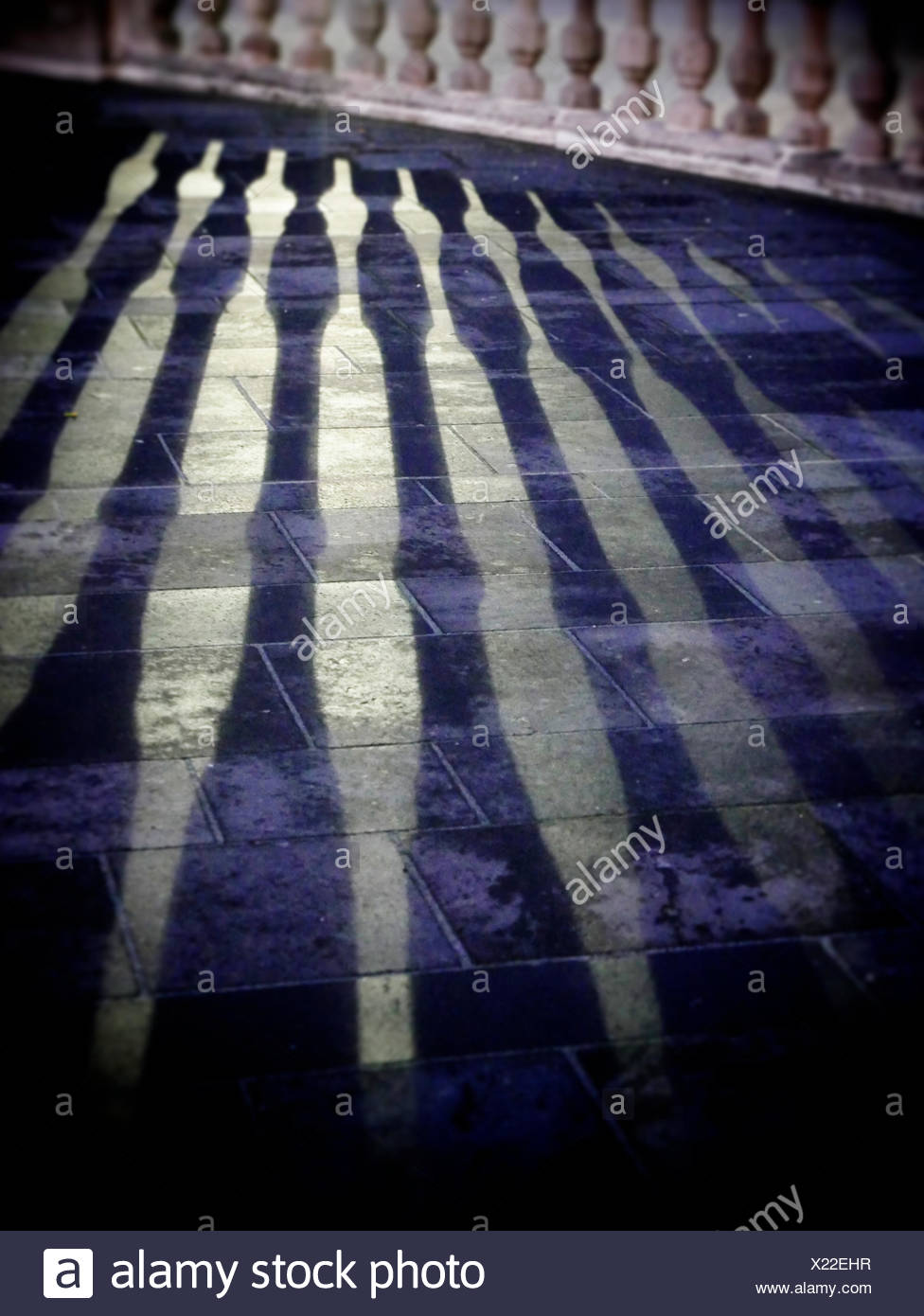 Shadow Of Fence On Floor - Stock Image