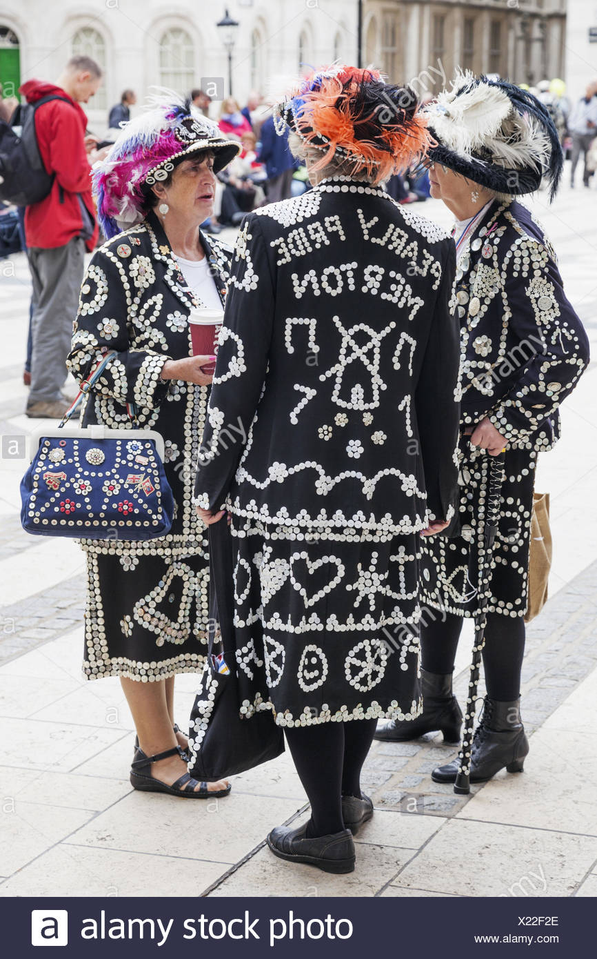 England, London, Pearlies, Pearly Queen, - Stock Image