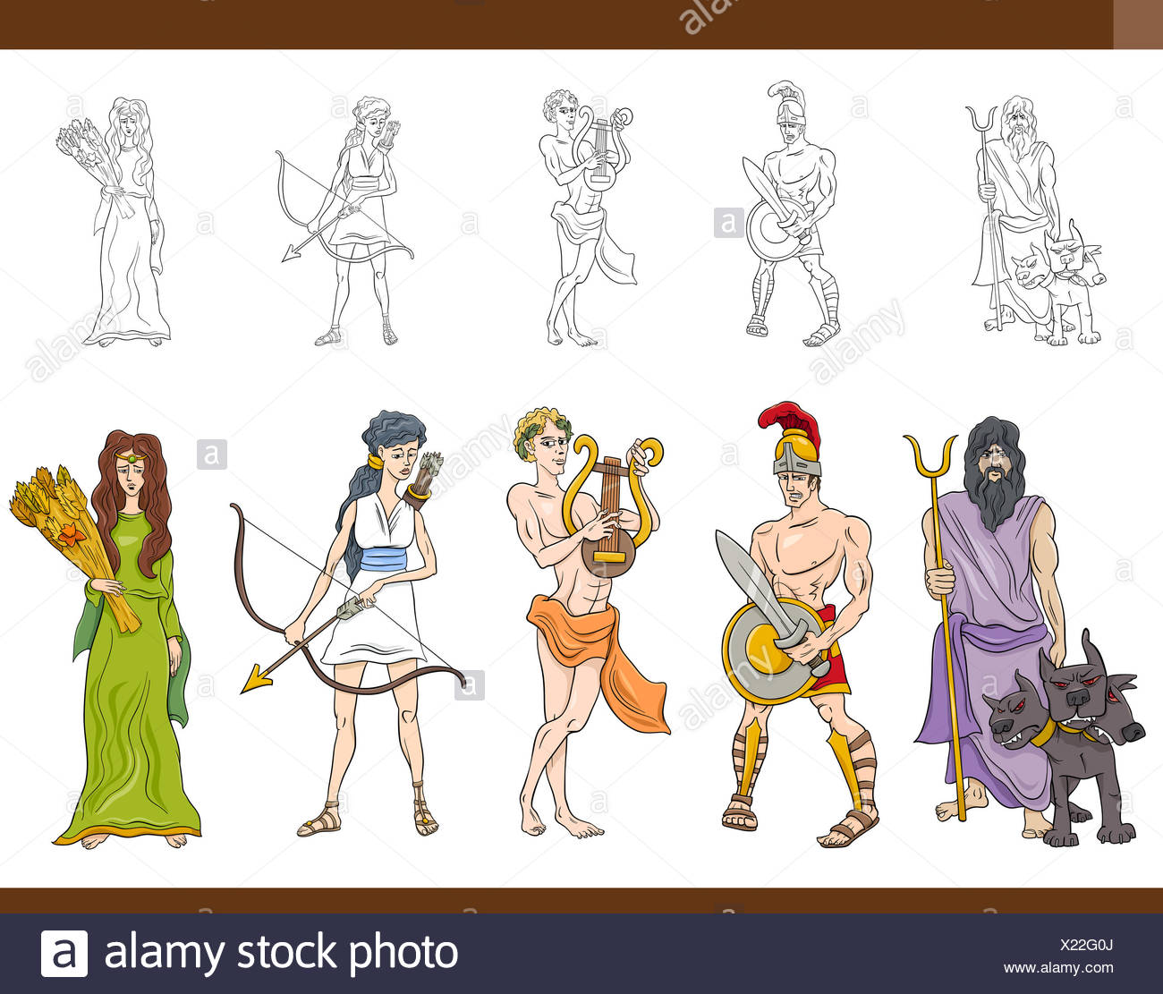 greek gods set illustration - Stock Image