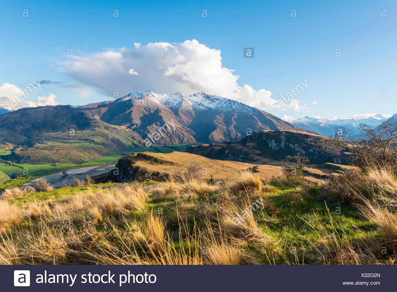 View of mountains with snow, Wanaka Lake, Rocky Peak, Glendhu Bay, Otago, Southland, New Zealand - Stock Image