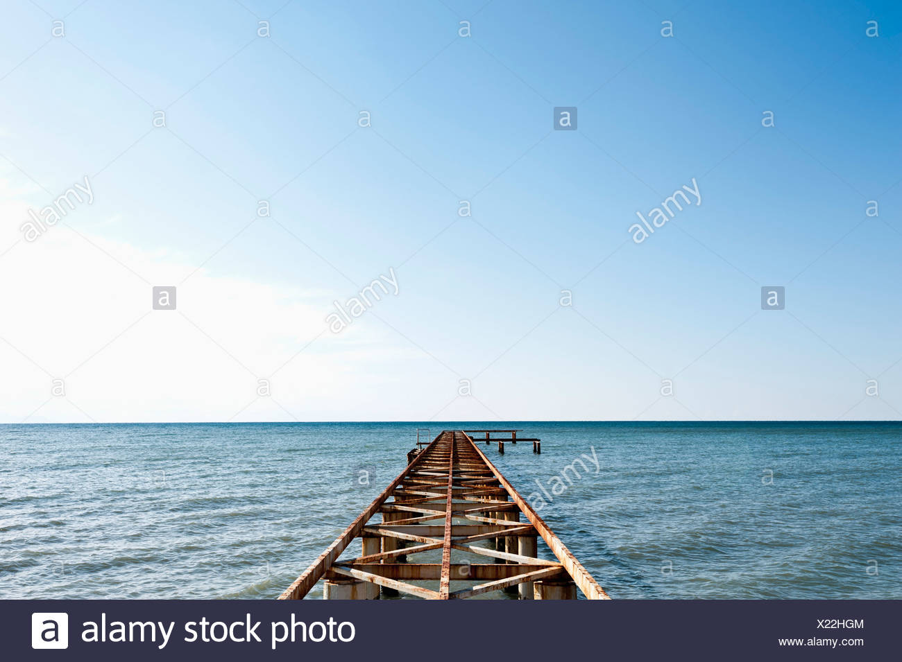 Turkey, Belek, View of rusty boat landing stage near sea - Stock Image