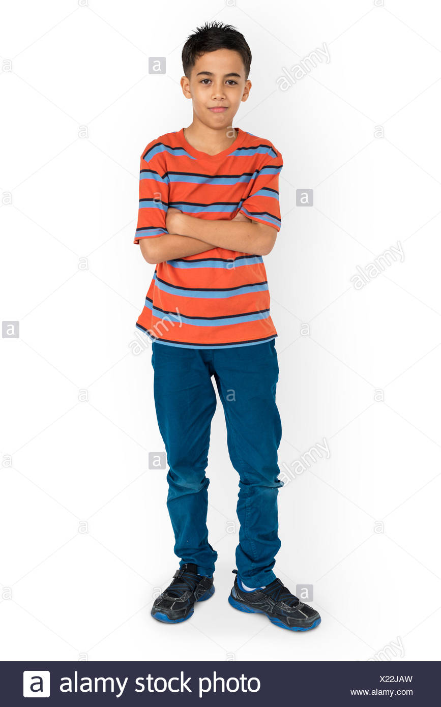 Kid Pose Standing Studio Concept - Stock Image