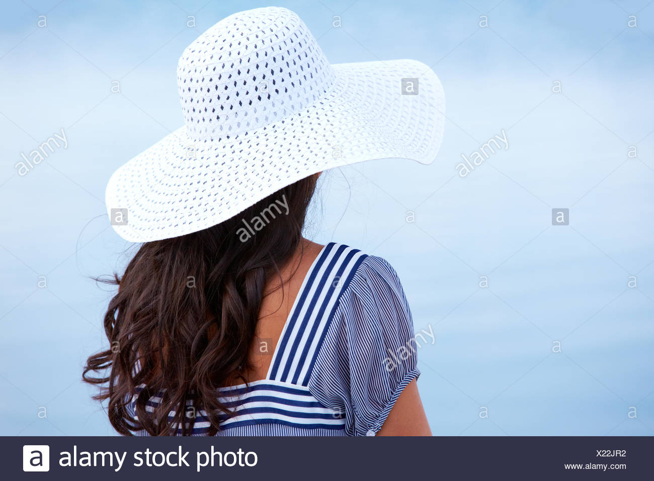 woman, blue, humans, human beings, people, folk, persons, human, human being, - Stock Image
