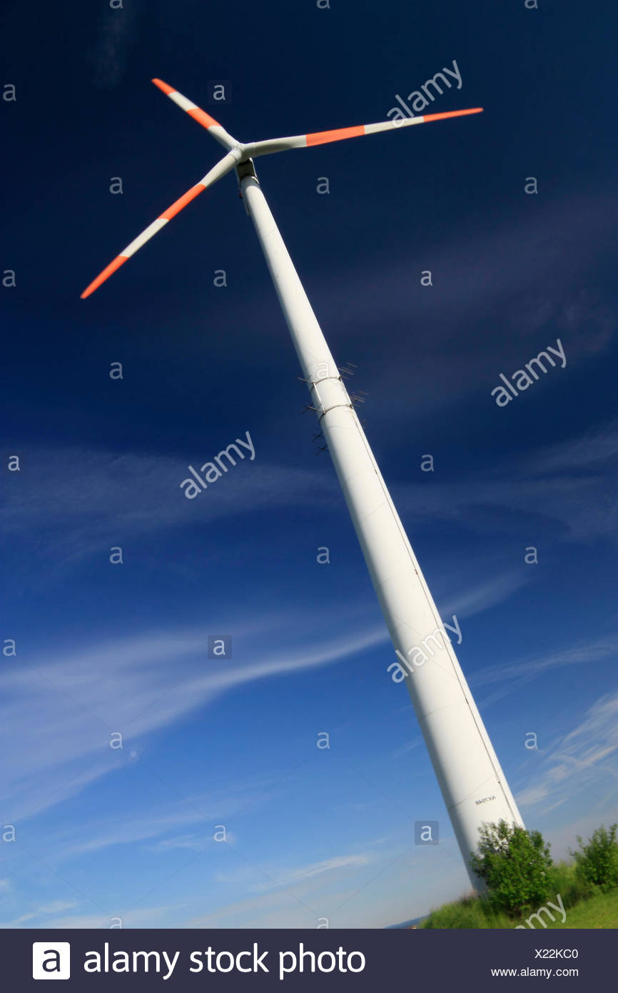 wind power plant in front of the blue sky - Stock Image