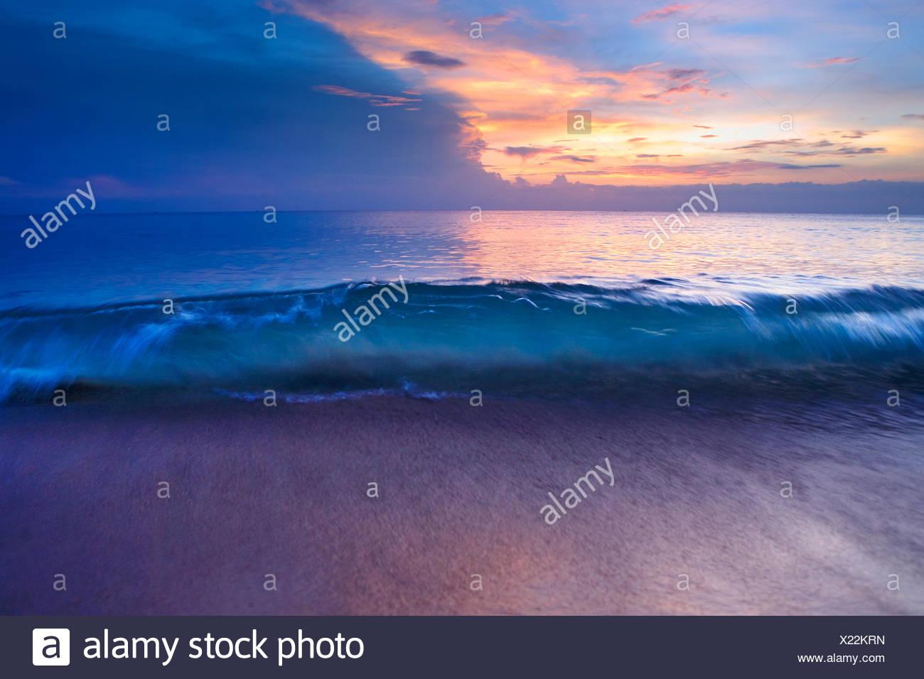 Thailand, Phuket, Karon Beach, Beach at dusk - Stock Image