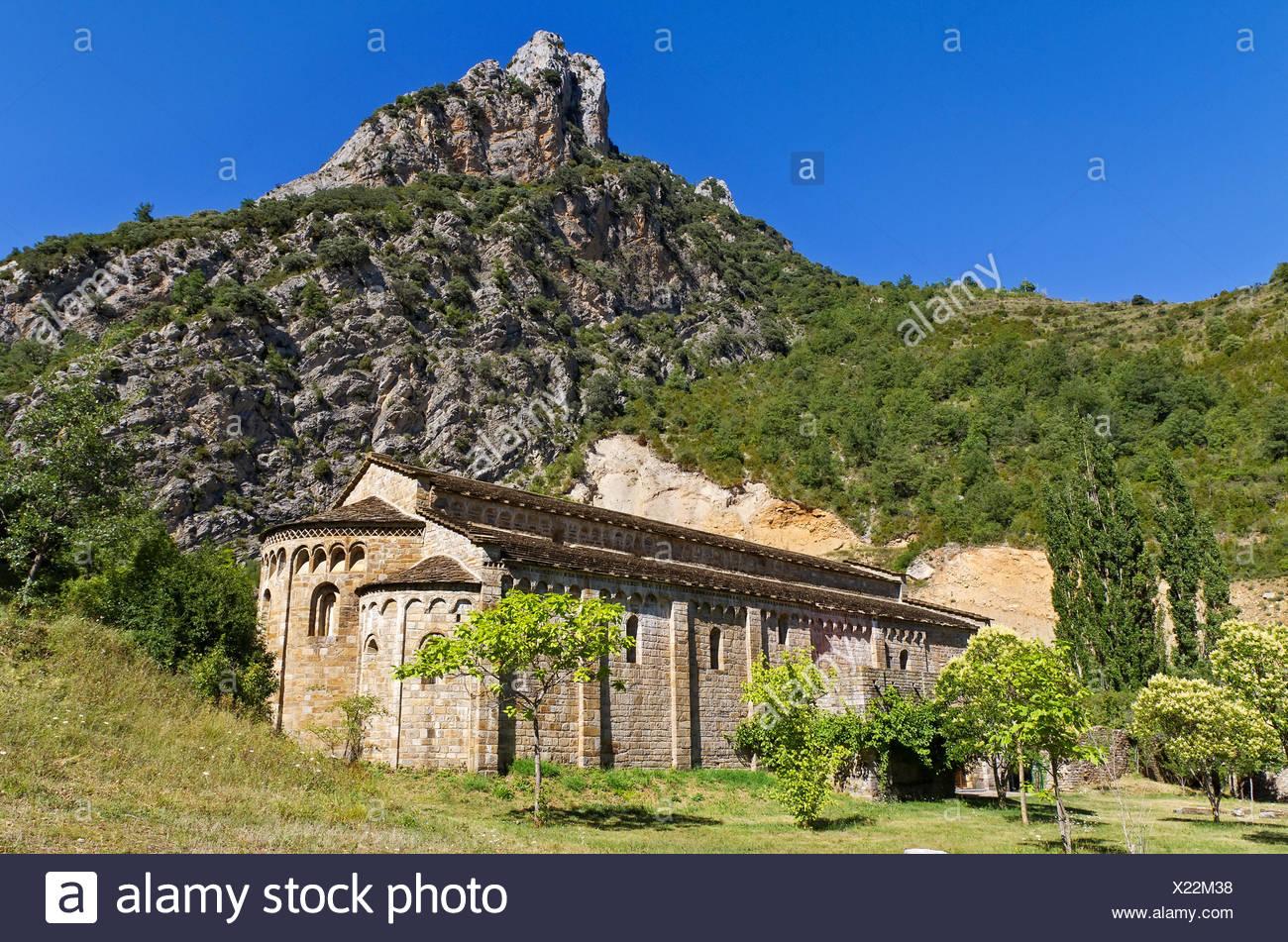church, temple, spain, tip, peak, valley, mary, arcs, catalan, hermitage, - Stock Image