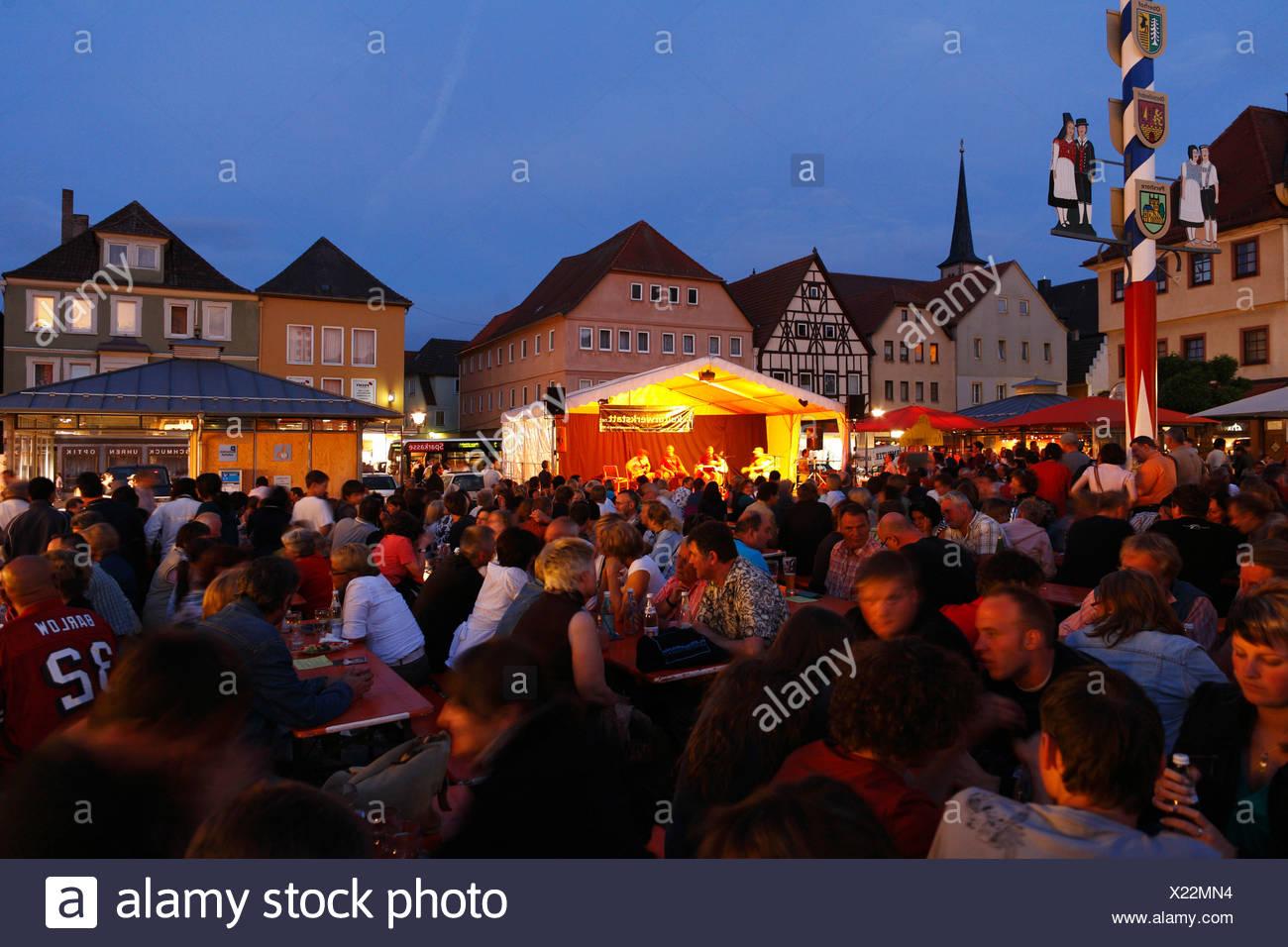 Market square summer Thursday night concerts, Bad Neustadt an der Saale, Rhoen-Grabfeld, Lower Franconia, Bavaria, Germany, Eur - Stock Image