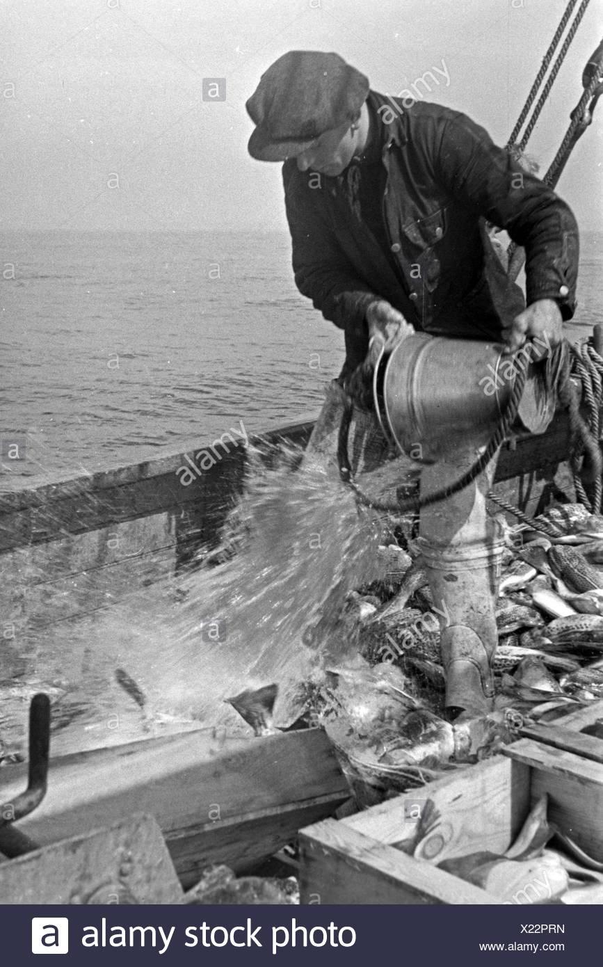 Ein Hochseefischer bei der Arbeit an Deck, Deutschland 1930er Jahre. A deep sea fisherman working on deck, Germany 1930s Stock Photo