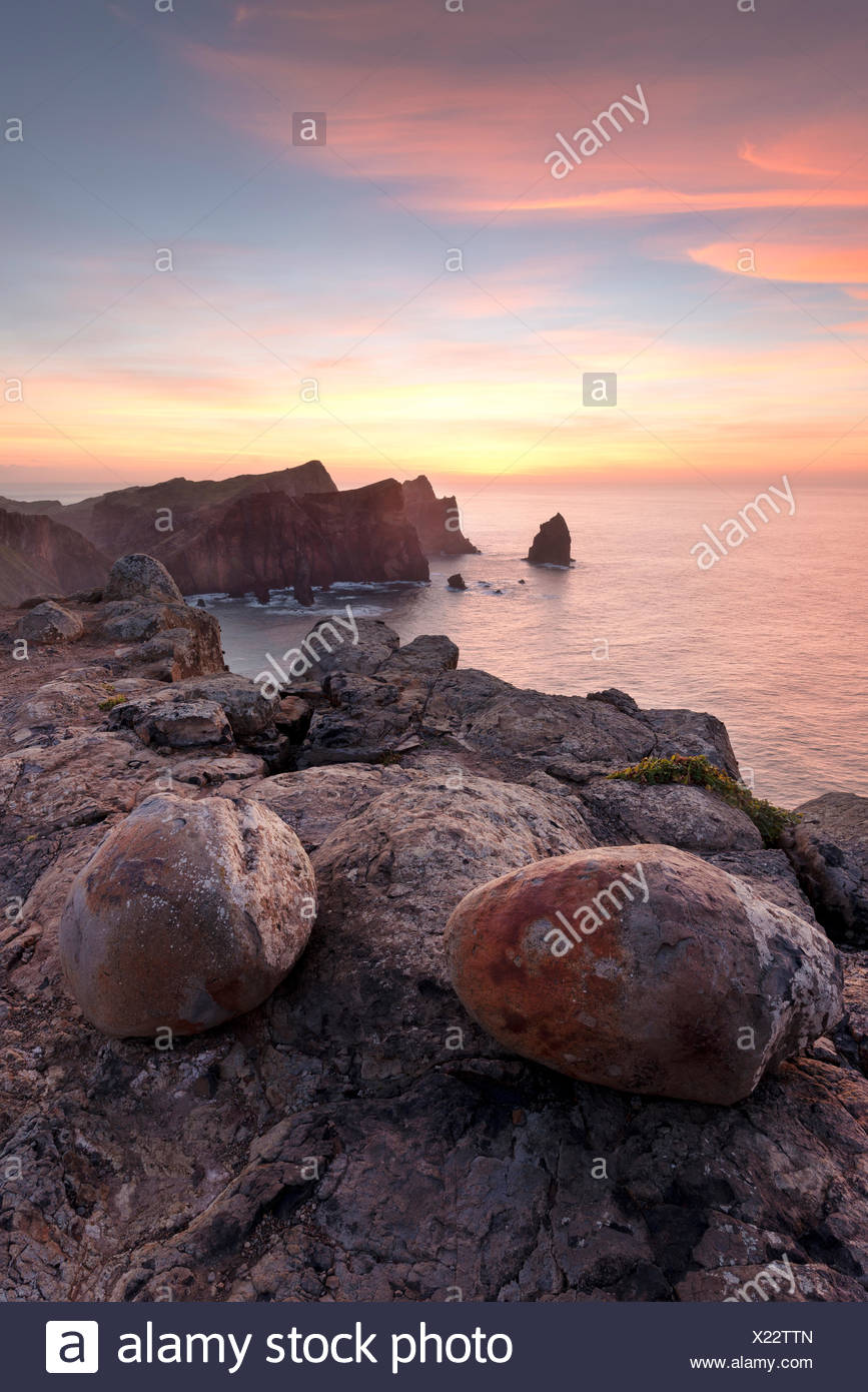 Portugal, Madeira, sunrise, stones, atmosphere, colour, sea, view, water, rock, - Stock Image