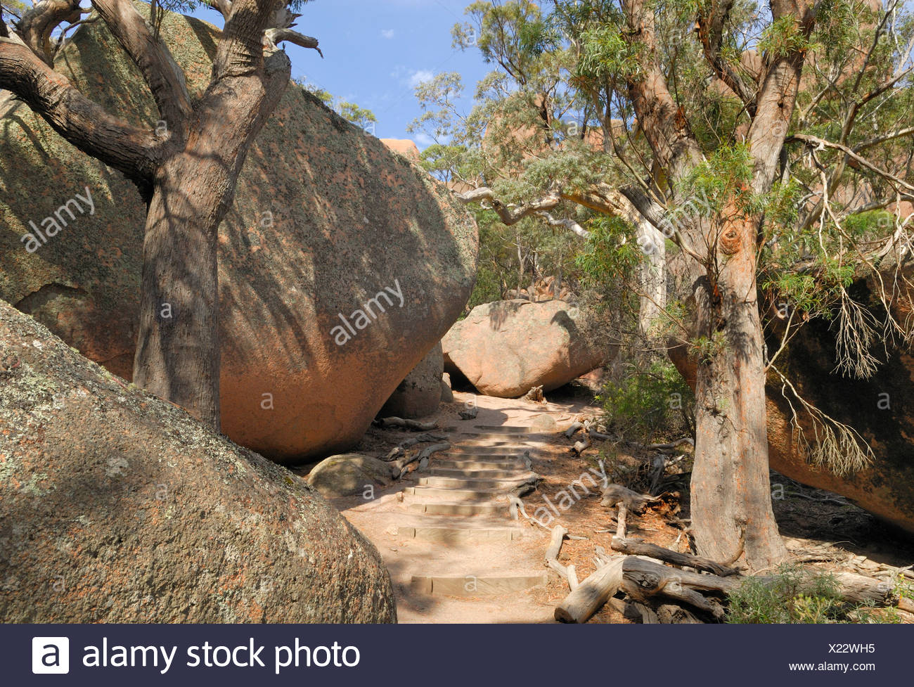 Hiking between large granite boulders to the Hazards, Freycinet Peninsula, Tasmania, Australia - Stock Image