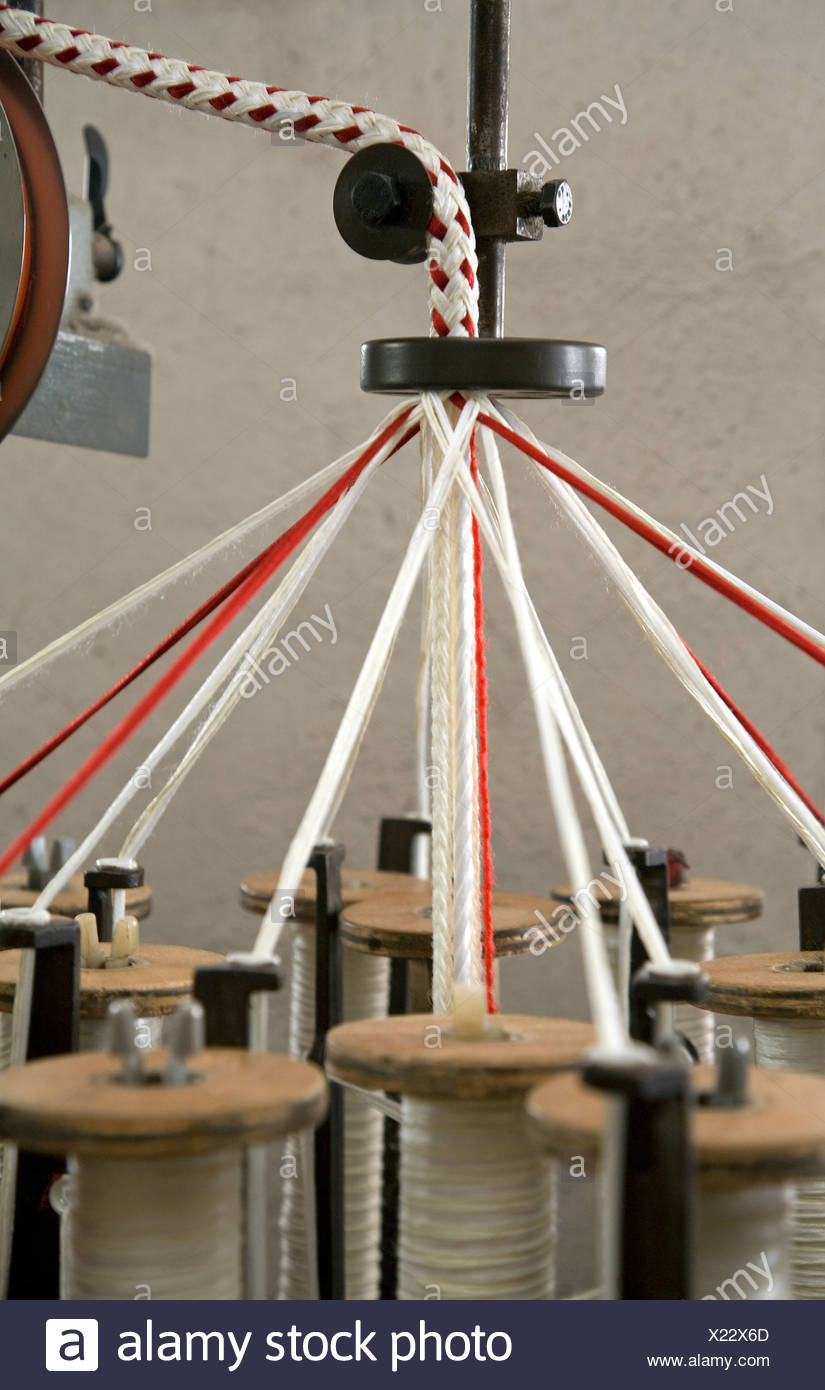 Wuppertal, Germany, production of a pull rope on a braiding - Stock Image