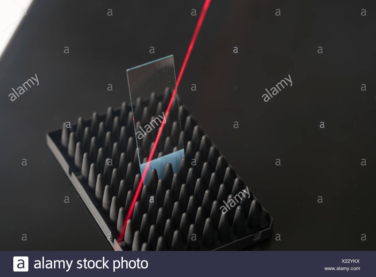 Microscope slide with red laser beam. - Stock Image