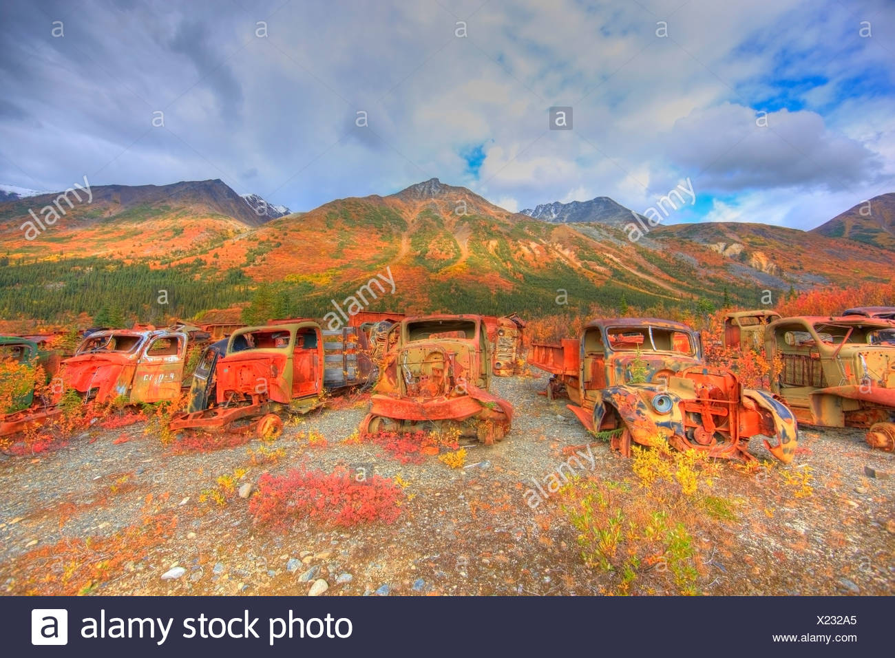 The Army Dump, also known as The Deadlines up the North Canol Road, Yukon. Located near MacMillin Pass. - Stock Image
