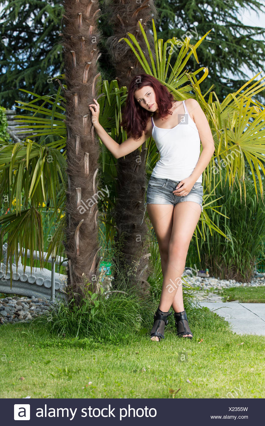 Woman with Shirt and Hotpants - Stock Image