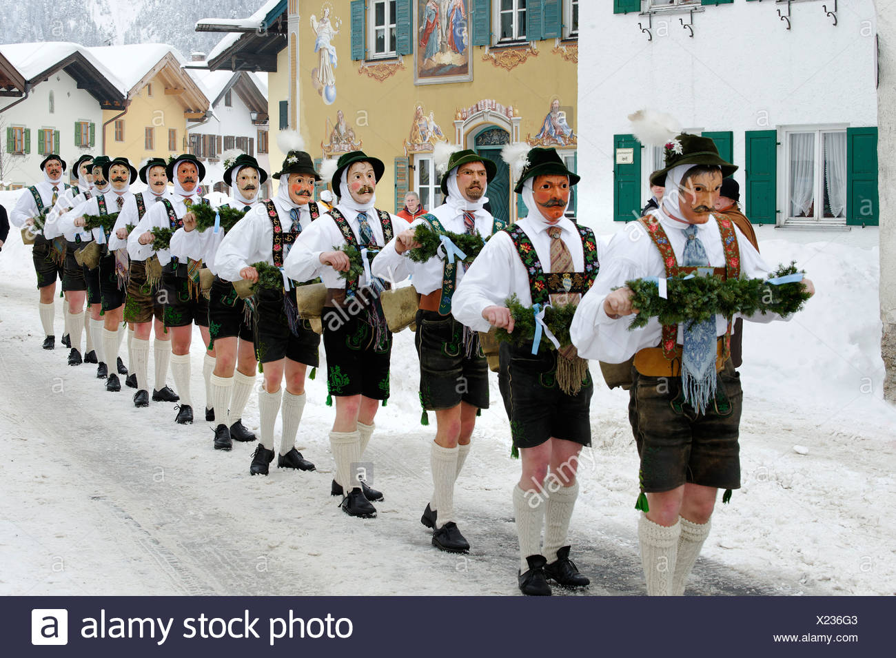 Men with bells, traditional carnival costumes, carnival parade, Maschkera, Mittenwald, Werdenfelser Land, Upper Bavaria - Stock Image