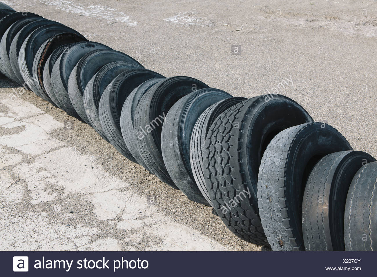 Utah USA Row of discarded tires - Stock Image